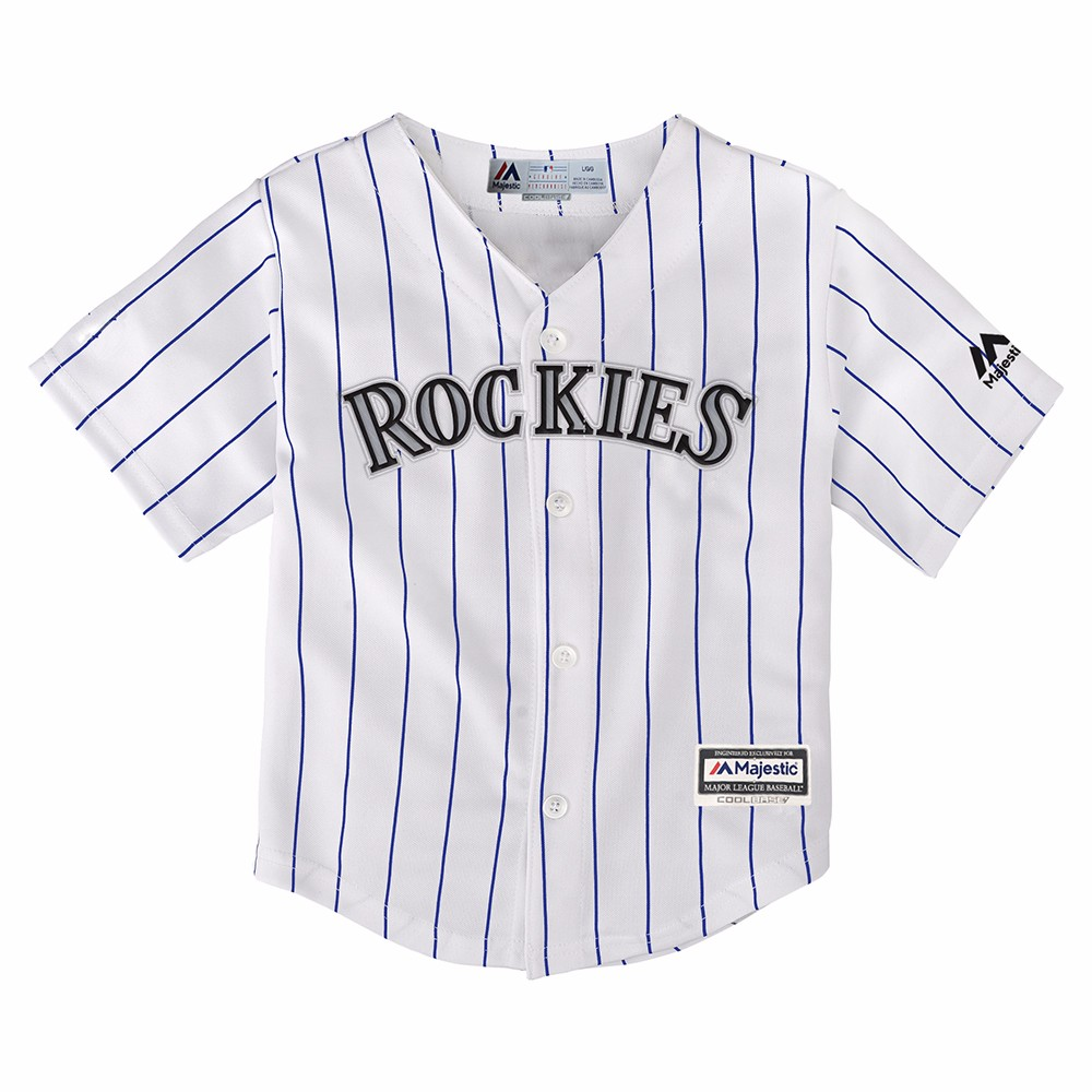 Team Colorado Rockies MLB Majestic White Official Home Cool Base Jersey For Toddler by Majestic