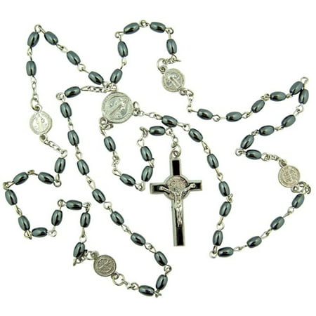 Hematite Oval Prayer Bead Rosary with Saint Benedict Center and Crucifix, 20 Inch (Wearing Rosary Beads)