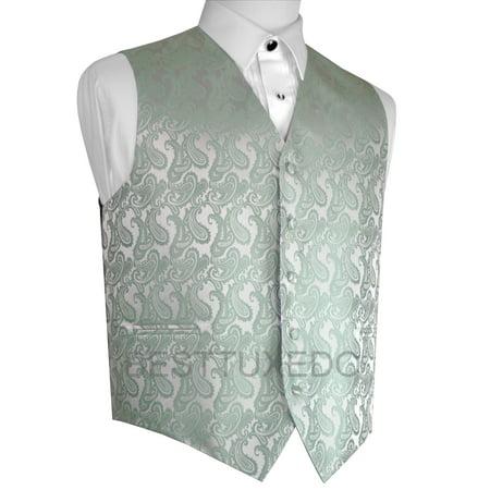 Italian Design, Men's Formal Tuxedo Vest for Prom, Wedding, Cruise , in Sage Paisley