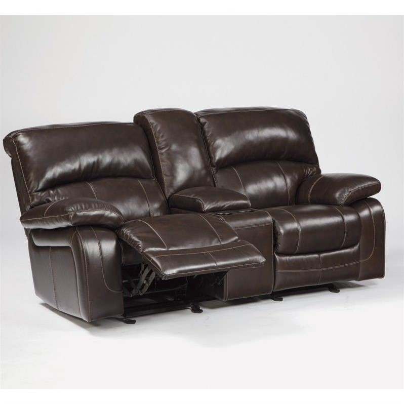 ashley furniture damacio leather power reclining loveseat in brown
