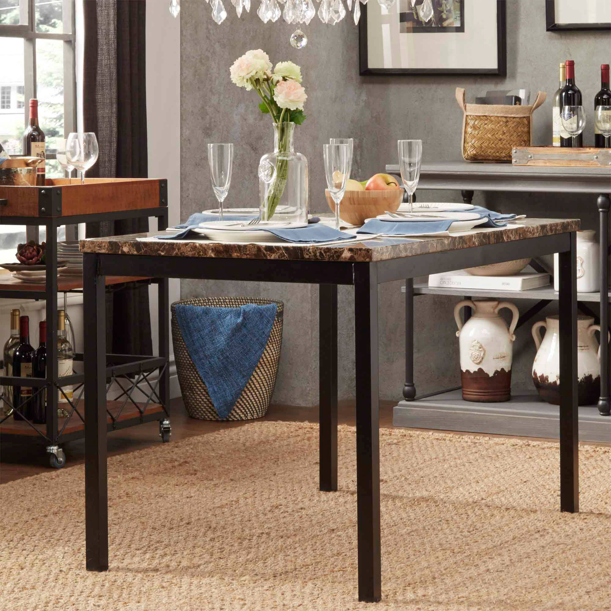 Chelsea Lane Declan Metal Counter Height Table With Faux Marble Top
