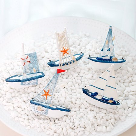 ZEDWELL Mediterranean Style Beach Nautical Themed Wooden Sailing Boat Model Decorations Home Party Table Ornament Photo Props