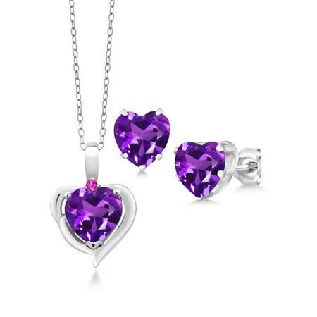 Amethyst Heart Set - 4.82 Ct Heart Shape Amethyst Pink Sapphire 925 Silver Pendant Earrings Set