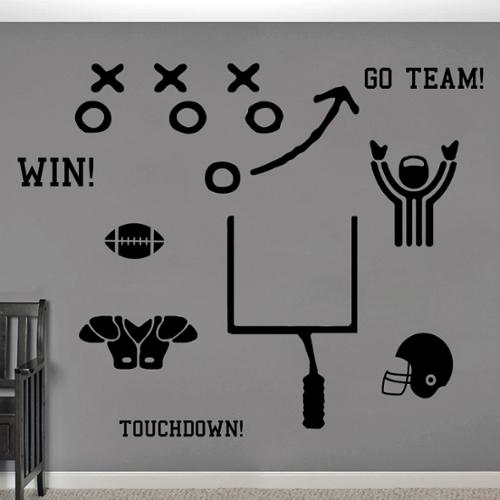Football Large Wall Decal Set BLACK
