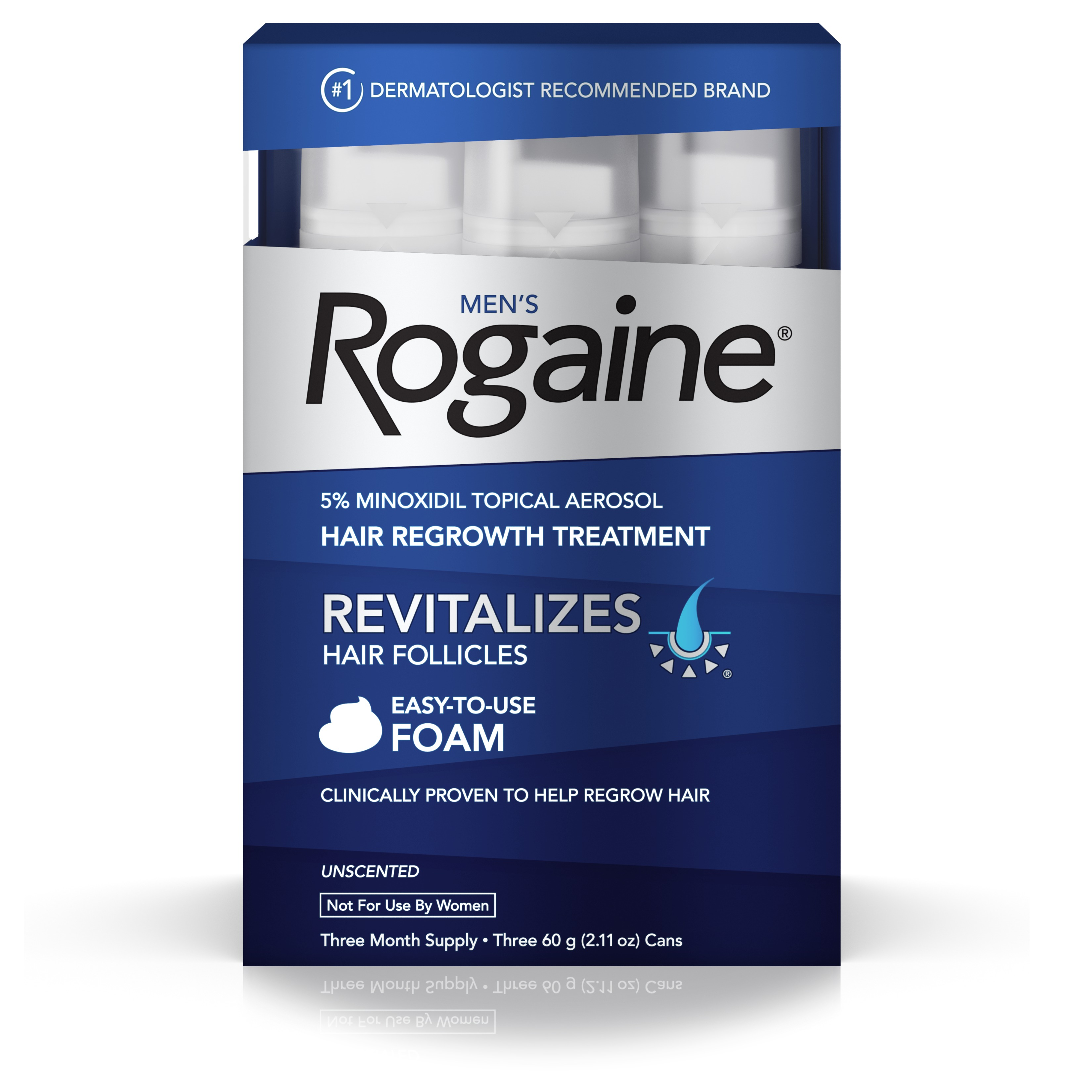 Rogaine Men S Minoxidil Hair Thinning Loss Treatment Foam 3 Month Com