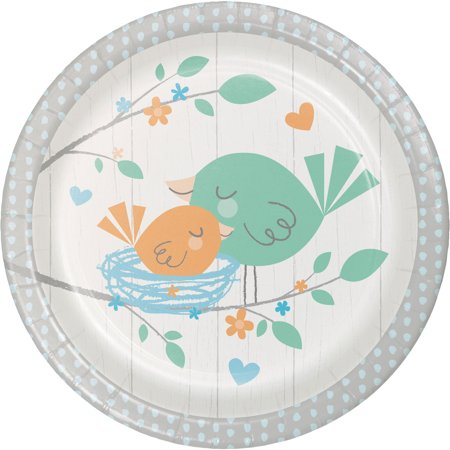 Hello Baby Boy Dinner Plates](Blue And Green Paper Plates)