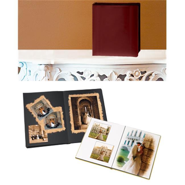 Leather Album Designs PD26091114625B Peel And Stick Self Mount 11X14 Burgandy Faux Leather Album 25 Pg - 50 Sides