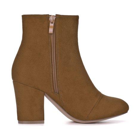 BC71429 Women Round Toe Side Zipper Block Heel Ankle Boots Brown/US 8 - image 5 de 7