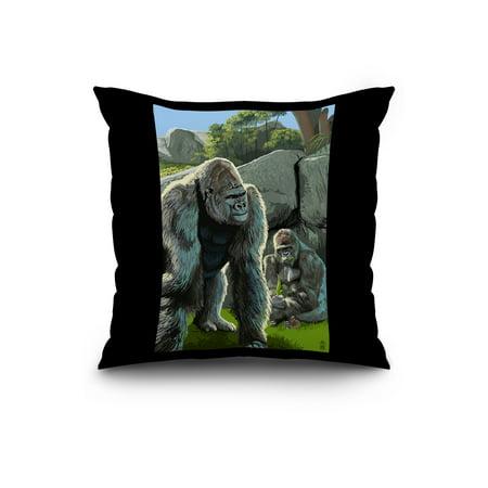 Gorillas in Forest Lantern Press Original Artwork 20x20 Spun Polyester