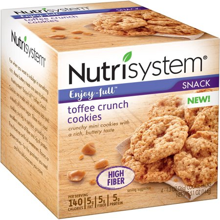 Nutrisystem Enjoy Full Snack Toffee Crunch Cookies  1 3 Oz  4 Count   Pack Of 6