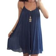 Summer Spaghetti Strap Chiffon Sundress for Women Plus Size Sleeveless Beach Slip Dress Top Shirt Dresses S-5XL