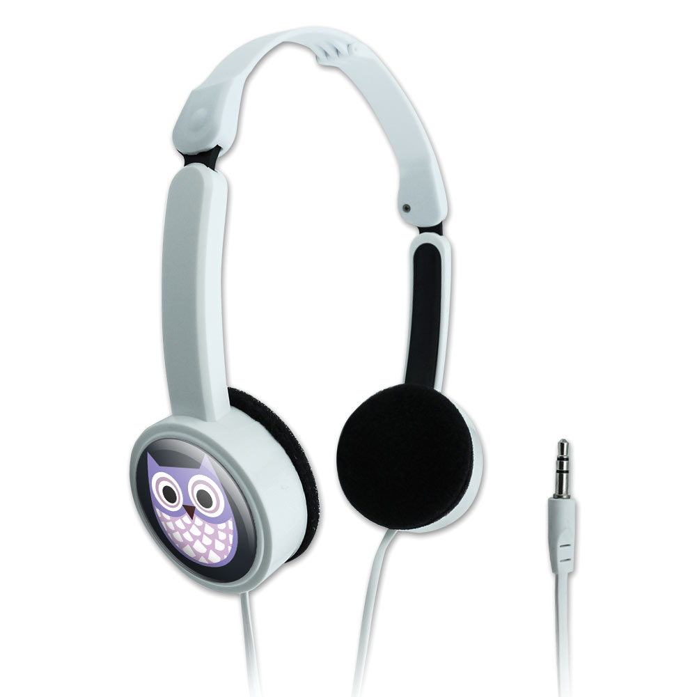 Cute Purple Owl Novelty Travel Portable On-Ear Foldable Headphones