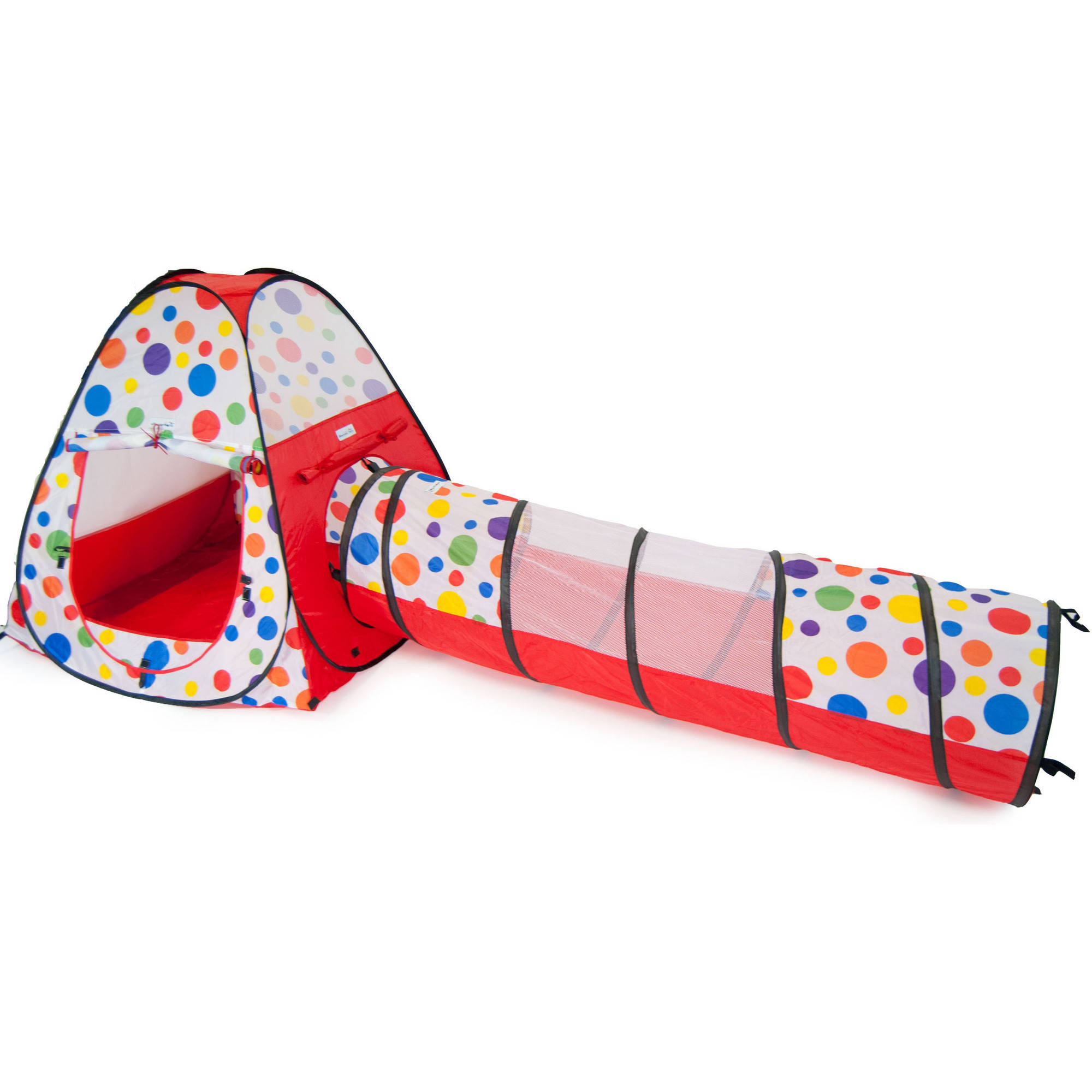 eWonderWorld Polka Dot Teepee Ball Tent House with Tunnel and Safety Meshing for Child Play Visibility and Tote, 2 Piece