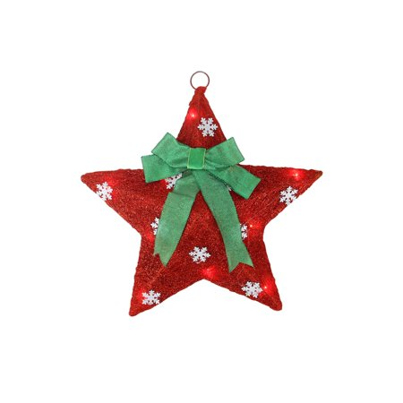 17 lighted red and green sisal hanging christmas star for Sisal decoration