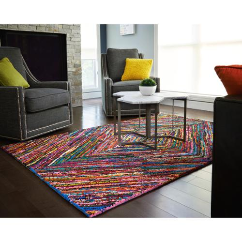 Jani  Kesa Multi-Colored Diamond Pattern Recycled Cotton Rug (9' x 12')
