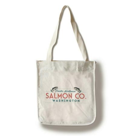 - Washington - Pacific Northwest - Salmon Co. -  Lantern Press Artwork (100% Cotton Tote Bag - Reusable)