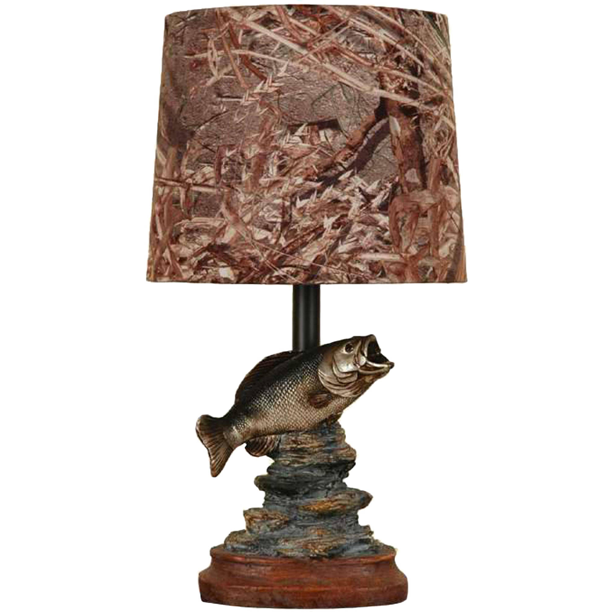 Mossy Oak Fish Accent Lamp, Dark Woodtone