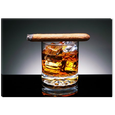 Startonight Canvas Wall Art Whiskey and Cigar USA Design for Home Decor, Illuminated Lifestyle Painting Modern Canvas Artwork Framed Ready to Hang Medium 23.62 X 35.43 inch ()