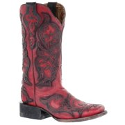 CORRAL Women's Red with Black Overlay Square Toe Cowgirl Boots G1468 (6 B(M) US)