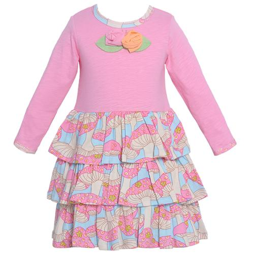 Baby Lulu Baby Girls Pink Mushroom Print Tiered Dress 12-24M