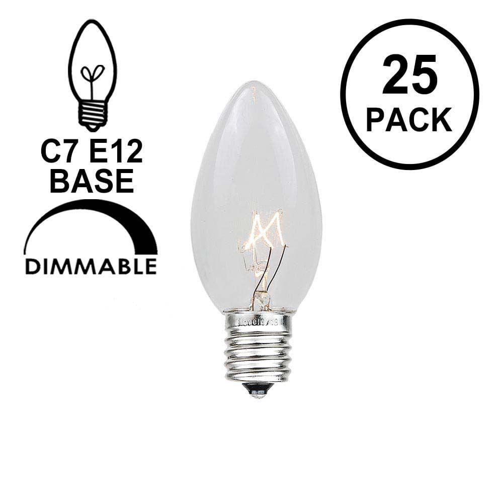 2 pack Darice 70963-5 watt 120 volt Candelabra Screw Base Pearlized Silicone Christmas Light Bulbs