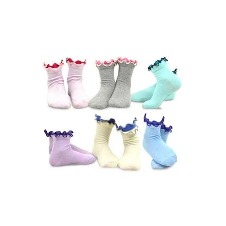 TeeHee Kids Girls Cotton Double Ruffle Crew Socks 6 Pair