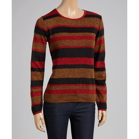 Red, Black And Copper Stripe Sweater With Lurex Bling For The Holidays Or Any Dressy Occasion (Style# 19272)