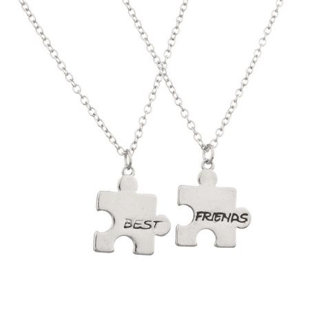 Lux Accessories Puzzle Best Friends BFF Forever Necklace Set (2 PC) (Puzzle Piece Necklace Set)
