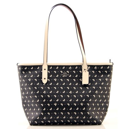 - COACH City Zip Tote With Butterfly Dot Print