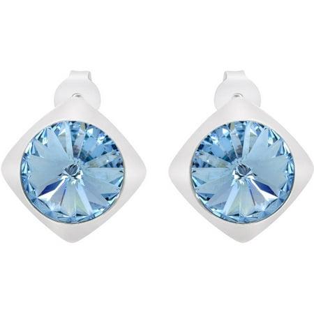 American Designs Aquamarine Blue Swarovski Crystal Sterling Silver Post Stud Earrings Aquamarine Swarovski Crystal Earrings