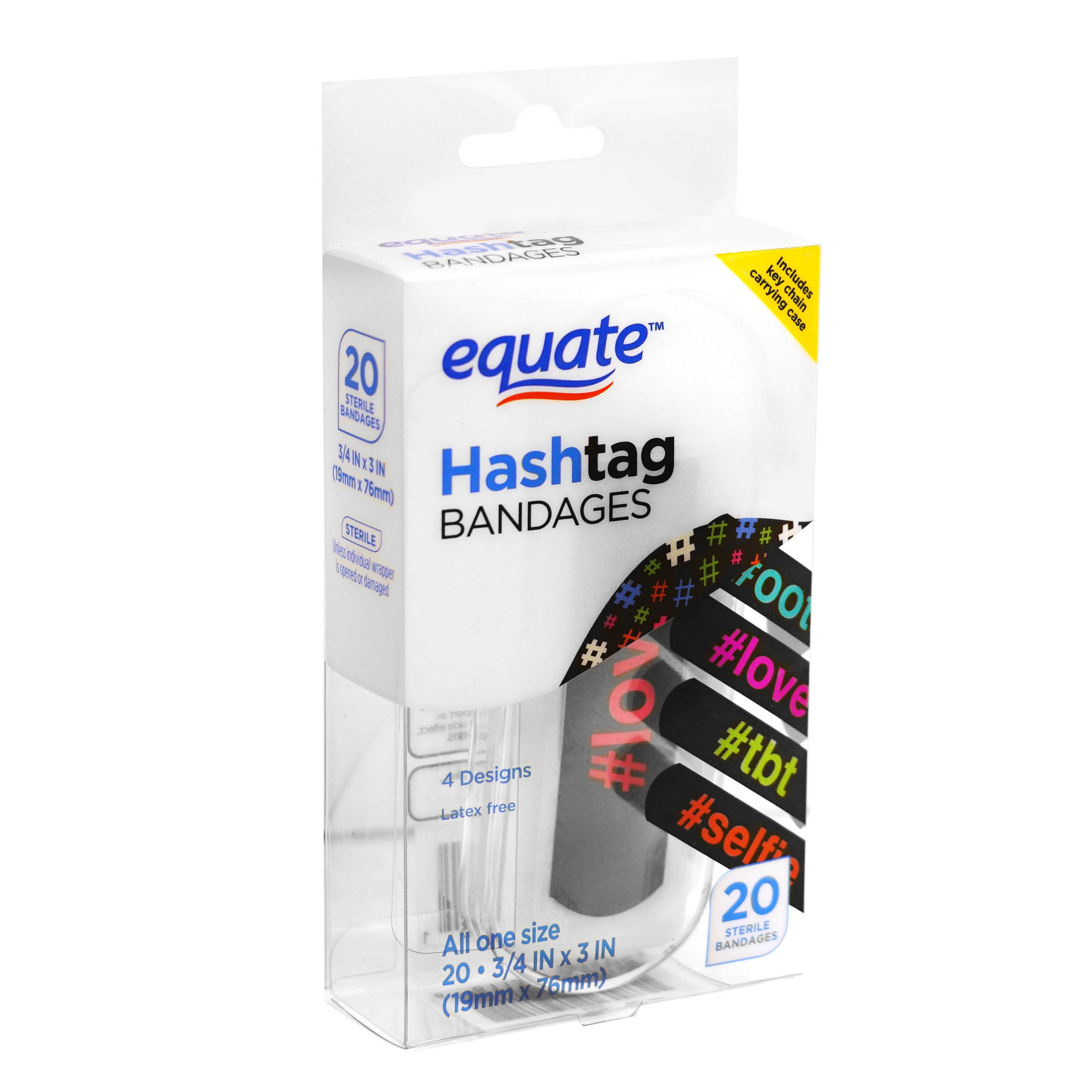 Equate Hashtag Bandages, 20.75 inches X 3 inches, 20 count