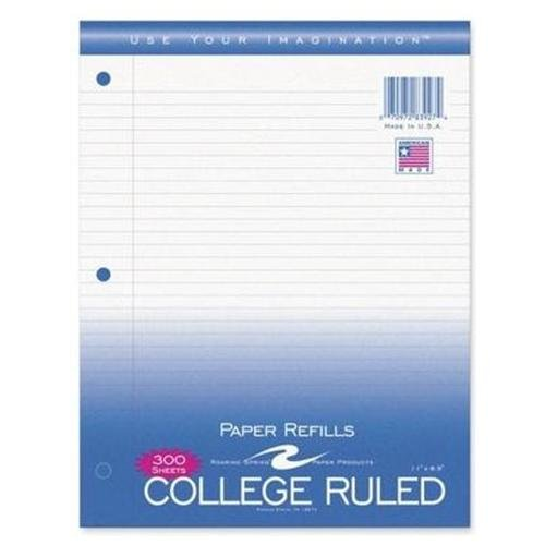 "Roaring Spring Filler Paper Sheets - 300 Sheet - 15 Lb - College Ruled - 8.50"" X 11"" - 300 / Pack - White Paper (ROA83927)"