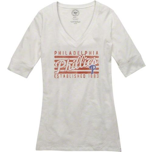 '47 Brand Philadelphia Phillies Women's White Base Layer V-Neck T-Shirt by TWINS ENTERPRISE INC/47 BRAND