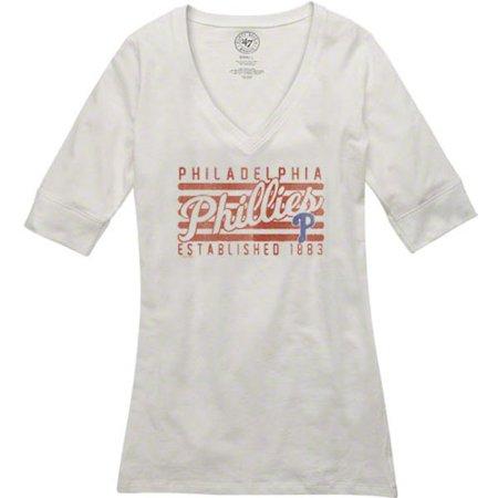 '47 Brand Philadelphia Phillies Women's White Base Layer V-Neck T-Shirt thumbnail