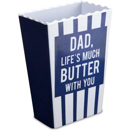 Pavilion Stripe - Pavilion - Dad, Life's Much Butter With You Blue Striped Melamine Vintage Style Popcorn Bowl