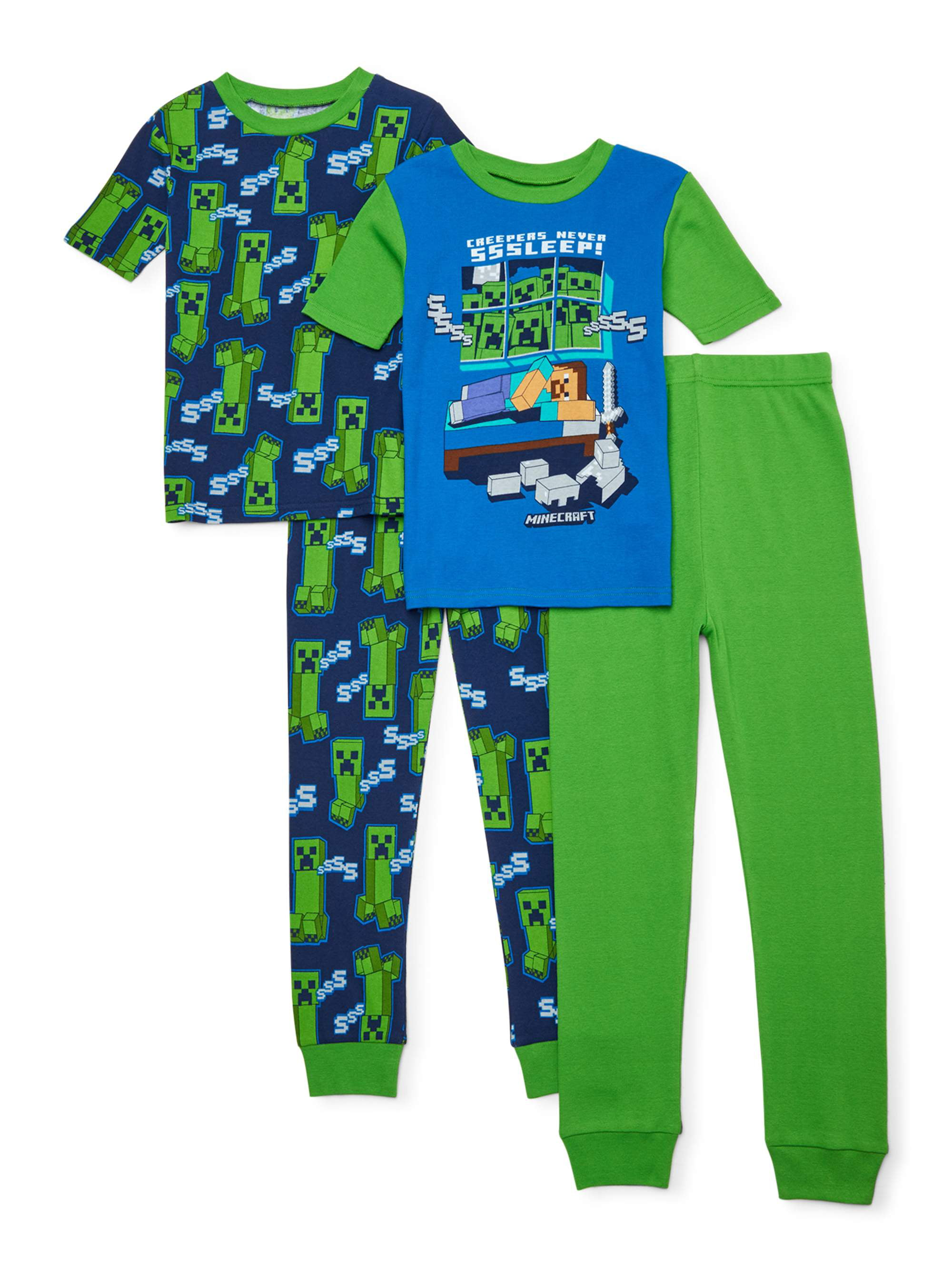 Minecraft Top for Boys Green Creeper Age 6-12 Long Sleeve 100/% Cotton