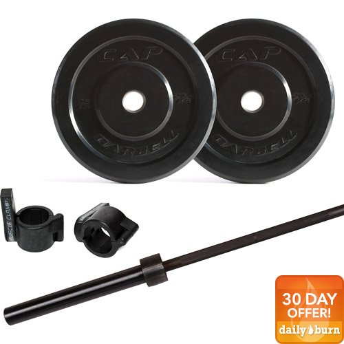 CAP Barbell 135lb Bumper Plate Set with 7' Power Bar and Muscle Clamps