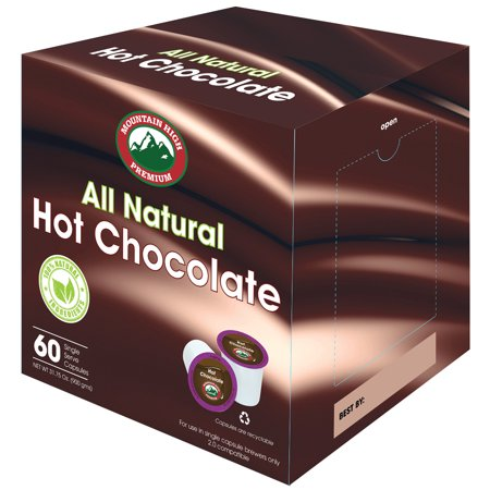 Mountain High All Natural Hot Chocolate K Cups 2.0 Compatible (Milk Chocolate, (Calories In Dunkin Donuts Hot Chocolate K Cups)