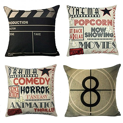 Movie Theater Cinema Personalized Home Decor Design Throw Pillow Cover  Pillow Case 18 X 18 Inch