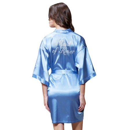 Turquaz Linen Satin Kimono Rhinestone Maid of Honor Robe (Small/Medium, Airy Blue)](Maid Of Honor Robe)