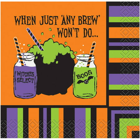 Any Brew Won't Do Halloween Paper Cocktail Napkins, 5 in, 16ct