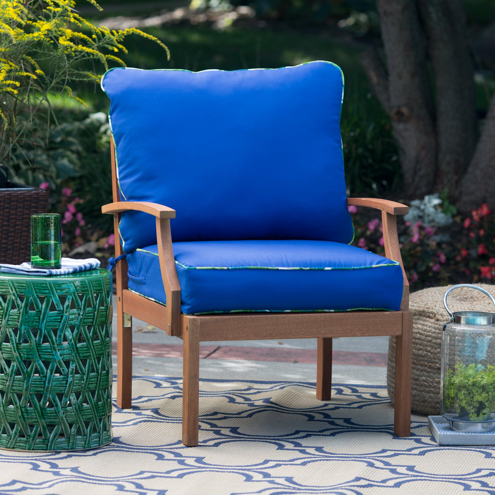 Coral Coast Curious Tropical Bird Deep Seat & Back Outdoor Cushion Set