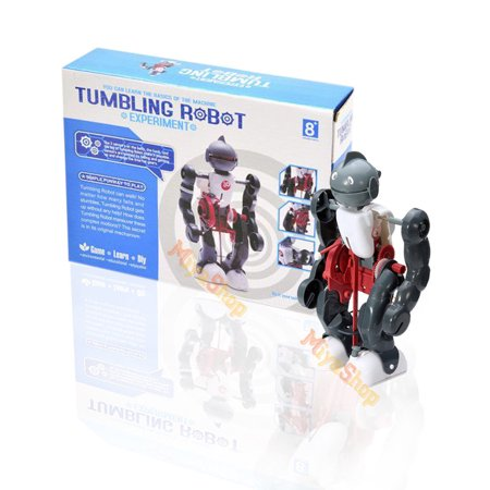 DIY Electric Tumbling Robot Dacing Model 3-Mode Assembly Kid Gift Creative (Dry Wood Model)