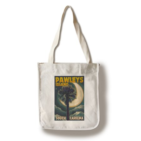 Pawleys Island, South Carolina - Palmetto Moon & Palm - Lantern Press Artwork (100% Cotton Tote Bag - Reusable)