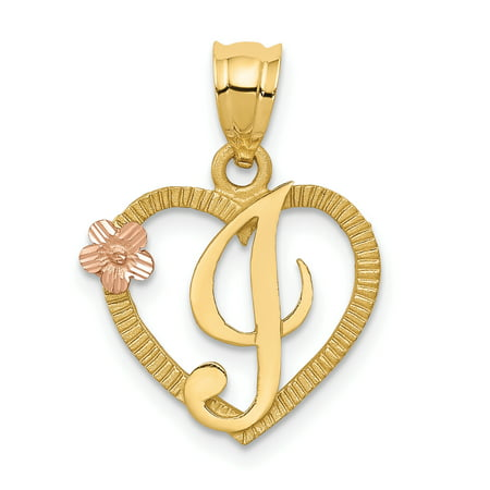 Golden Retriever Jewelry (14kt Two Tone Yellow Gold Initial Monogram Name Letter I In Heart Pendant Charm Necklace Fine Jewelry Ideal Gifts For Women Gift Set From Heart )