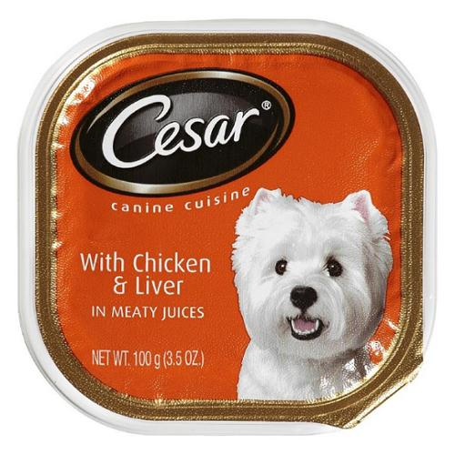 Cesar Canine Cuisine with Chicken & Liver in Meaty Juices 3.50 oz (Pack of 3)