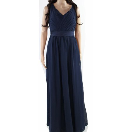 Navy Womens Large Chiffon V-Neck Strappy Gown L