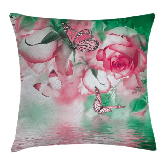 Throw Pillow Case 20 X 20 : Spring Throw Pillow Cushion Cover, Refreshing Rose Petals and Butterfly Water Romance Beauty ...