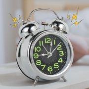 Silver Table Alarm Clock Modern Design Metal Desk Clock Quartz Luminous Wake Up Light