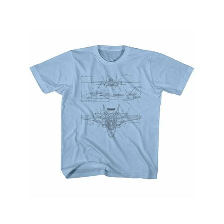 Top Gun 80's Naval Aviator Film VF-1 Blueprints Big Boys Youth T-Shirt Tee (Aviator Film Online)